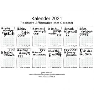 Kalender 2021 Positieve Affirmaties – Download